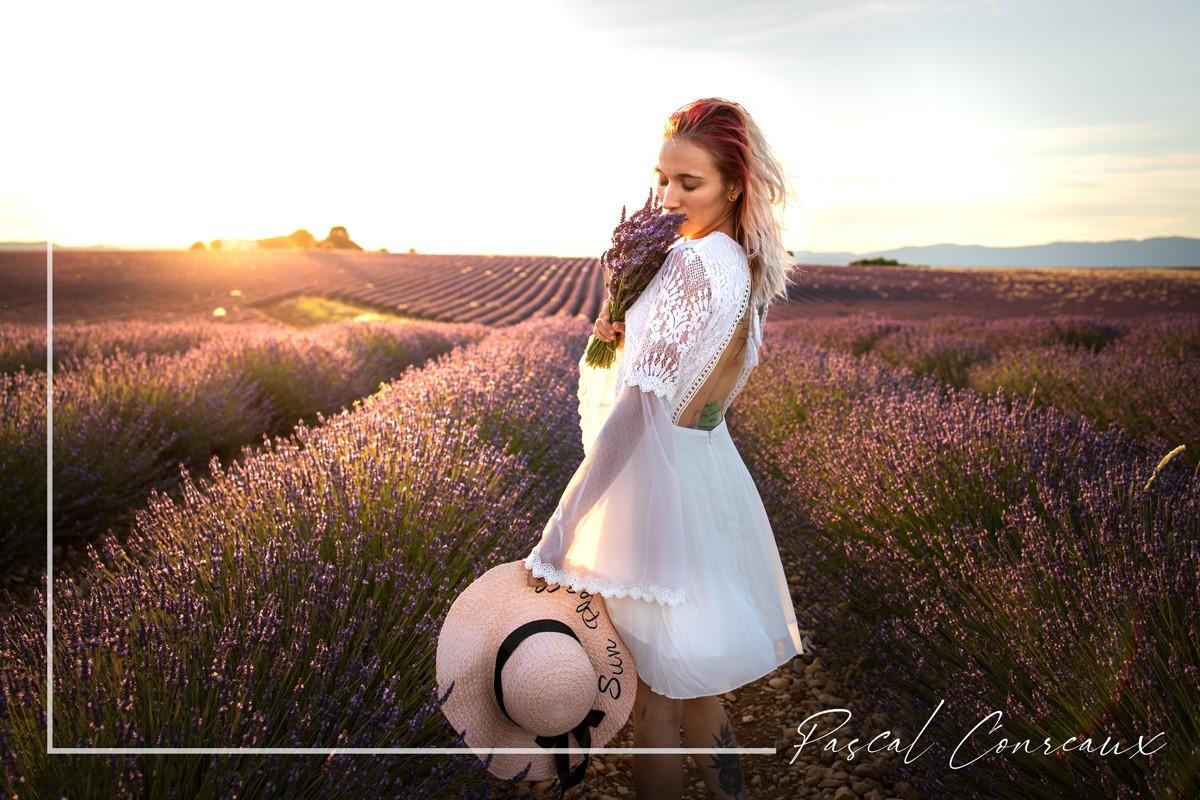 Séance photos femme au coucher du soleil dans les champs de lavandes